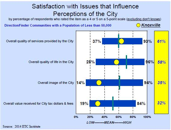 Satisfaction with Issues that Influence Perceptions of the City